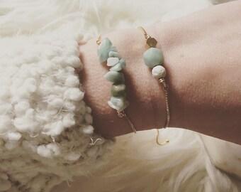 Amazonite gemstone bracelet, power gemstones , adjustable gold bracelet