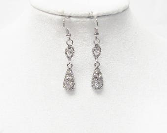 Small Crystal Rhinestone Drop Earrings