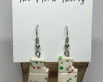 White Chocolate Christmas bark holiday polymer clay earrings