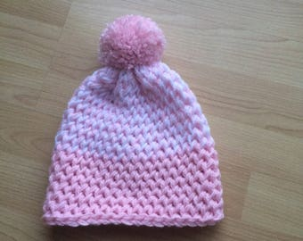 Childs Pink and White Knitted Hat