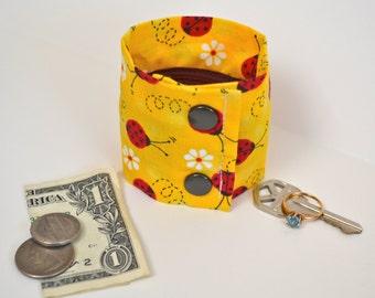 "Money Wrist  Cuff- ""Secret Stash""- Ladybugs --stash your cash, coins, jewels , health info in a hidden inside zipper--"