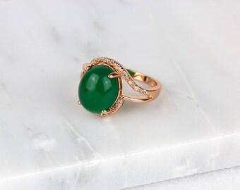 Rose Gold Jade Ring/ Green Jade Ring/ Diamond Jade Ring/ Rose Gold CZ Ring/ Nephrite Jade Ring
