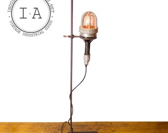 Vintage Industrial Appleton Explosion Proof Trouble Lamp Chemistry Lab Stand Scientific Beacon