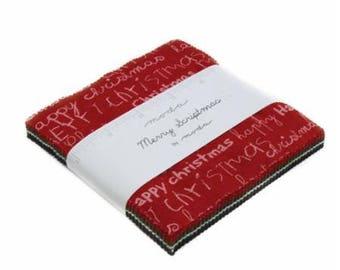 SUMMER SALE - Merry Scriptmas - Charm Pack - Moda Fabric - Christmas