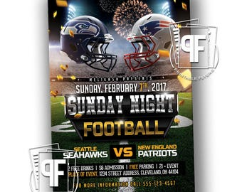 Football Flyer - Football Party Invitation - Sunday Night Football Flyer - Monday Night Football Flyer - Super Bowl Party Invitation
