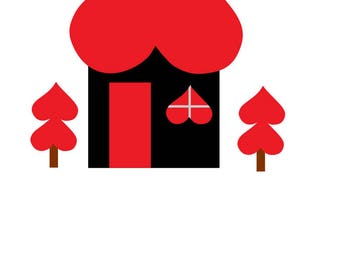 valentines day, house with heart trees. svg,dxf, png