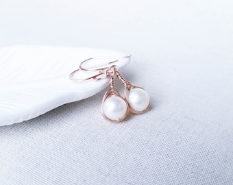 14k Rose Gold Woven Freshwater Pearl Drops: 14k Gold Filled Herringbone Modern Woven Wire Earrings with Freshwater Pearls Valentine