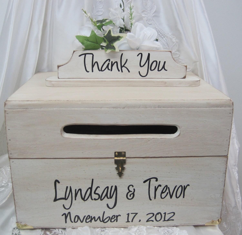 Rustic Wedding Card Box with Thank You Sign wood Keepsake