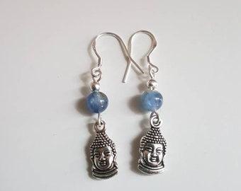 Earrings in silver and kyanite bead (kyanite) and Buddha