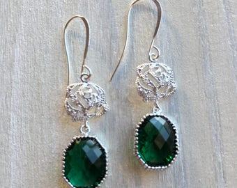 Emerald Green, Vintage Style, Old World, Titanic, Filigree, Rose, Sparkly, Bridal, Wedding Earrings