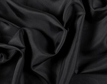 "45"" Wide 100% Silk Habotai Black-Wholesale by the Yard (2000M196)"