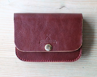 Women's Leather Wallet, Mahogany Brown