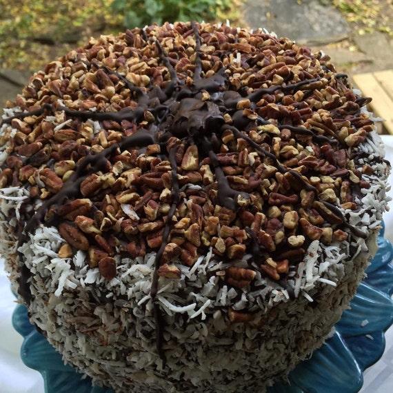 Vegan German  Pecan Coconut Cake 8-9''