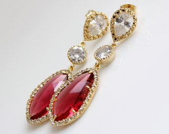 Red Earrings, Wedding Jewelry, Red Gold Bridal Earrings, Bridesmaid Earrings, Red Wedding Earrings, Cubic Zirconia with Ruby Red Glass drops