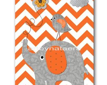 Elephant Nursery Kids Wall Art Baby Nursery Decor Baby Boy Nursery Kids Art Baby Room Decor Nursery Print Bird Gray Orange Baby Gift