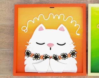 White Cat meditating in Porcelain. Cold porcelain Cat.