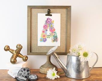 Blühende Alphabet - erste Blumendruck, Blume Buchstaben, Floral Monogramm, Blume-Monogramm, Kindergarten Kunst, kleines Mädchen namens Kunst