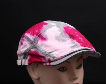 Tie Dye Flat Driving Samuel L Jackson Hat, OOAK Hippie Pink Ladies ivy Cap