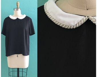 vintage black cropped top with pearl trim peter pan collar
