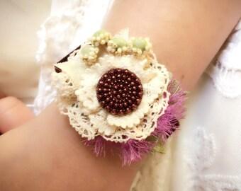 Fabric Flower Bracelet - Unique Gift for Women - Button Bracelet - Lace Bracelet - Gift for Girls - Purple Jewelry - Velvet Bracelet - Prom