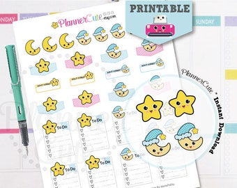 Printable Weather Stickers, Printable Moon and star Stickers, Kawaii  Weather Planner Erin Condren, Kawaii Planner Stickers K001
