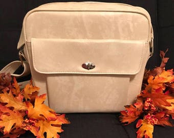 Vintage small suitcase / carry on bag in gorgeous cream!