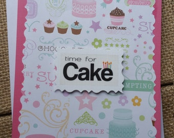 Time For Cake Card/cupcakes/Birthday/Add a note and send to recipient/Happy Birthday