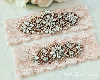 Rose Gold Wedding Garter Set - Rhinestone Lace Garter - Pearl Garter - Pink Bridal Garter - Wedding Garter Belt - Keepsake Garter