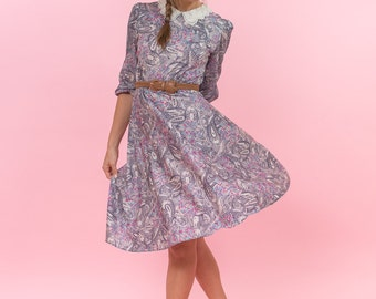 Vintage Paisley Librarian Dress (Size Small)