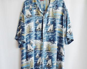 Shirt Vintage Hawaiiana blue with boats.
