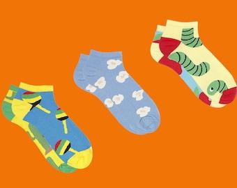Sammy icône courtes chaussettes ensemble, chaussettes rayées, Animal chaussettes, Sweet chaussettes, chaussettes de pomme, chaussettes bleu pour les hommes et les femmes, chaussettes de l'été, chaussettes pour hommes