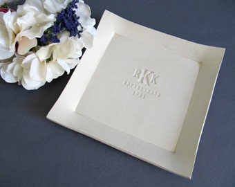 Wedding Gift, Anniversary Gift or Housewarming Gift - Personalized with Monogram and Date - Personalized Platter - Gift boxed