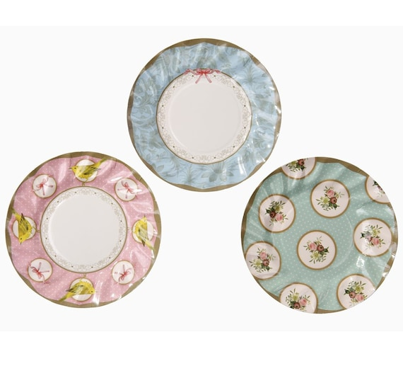 12 charming small paper plates / charm Paper Plates / Floral Vintage Paper Plates / Blossom Paper Plates / Disposable Plates  sc 1 st  Etsy Studio & 12 charming small paper plates / charm Paper Plates / Floral Vintage ...