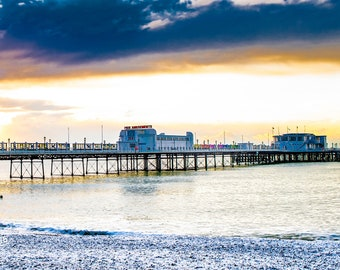 Worthing pier in the snow Photo / Poster / Canvas Colour