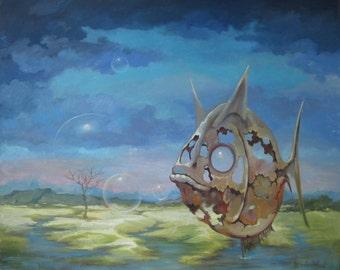 Original Oil Painting Wall Art Fishburg Fish 23,6 x 19,7 in (60cm x 50cm) 2016y