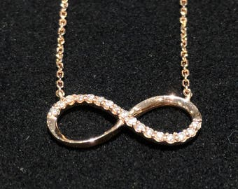Rose Gold Infinity Pendant with White Diamonds