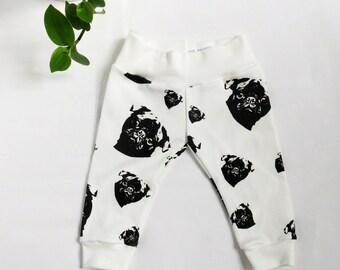 Pug Baby Leggings, Organic Baby Clothes, Pug Baby Clothes, Organic Baby Gift, Organic Toddler Leggings, Pug Dog Baby Shower, New Baby Gift