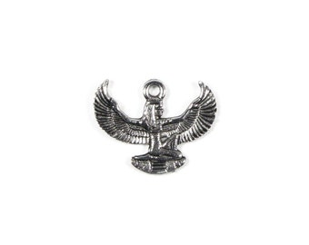 Antique Pewter, Egyptian Winged Goddess Isis Charm, Qty: 1