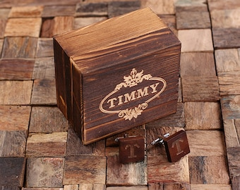Personalized Men's Classic Square Wood Cuff Link Monogrammed Engraved Groomsmen, Best Man, Father's Day Gift