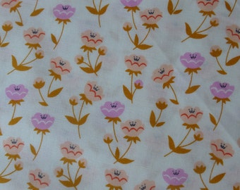 1/2 Yard Organic Cotton Fabric - Cloud 9 Fabrics, Vignette, Buttercup Pink
