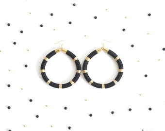 Black and Gold Maxi Hoop Earrings, Black Big Statement Earrings, Black Maxi Earrings, Mother's Day Gifts for Her, Bohemian Earrings / AMIRA