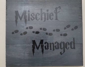 Harry Potter Mischief Managed wall plaque
