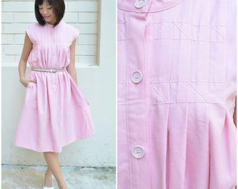 1950 Vintage Dress/ Pinkie Pie Dress/ Medium Dress/ Large Dress/ Japanese Vintage/ Pink Dress/ Maternity Dress/ Shift Dress/ Pocket Dress