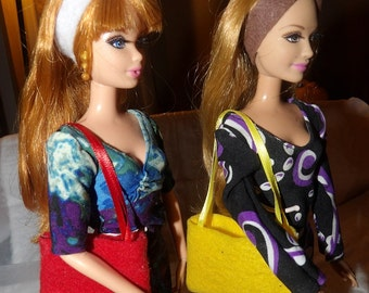 Accessory Set - 2 purses, 2 belts / headbands, 1 pair of shoes for Fashion Dolls - as6