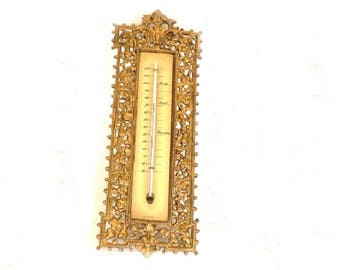 Vintage Ormolu Honeywell Thermometer, Honeywell Thermostat, Weather Station, Home Decor, Made in Italy and U.S.A., Temperature Gauge