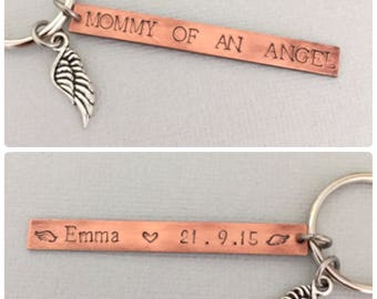 Double Sided Mommy Of An Angel Keychain, Memorial Pregnancy Loss, Daddy of An Angel, Miscarriage Gift, Stillborn, Angel Baby Keychain