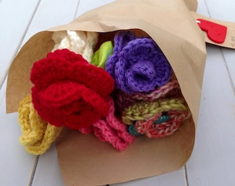 Paper Wrapped Crochet Rose Bouquet