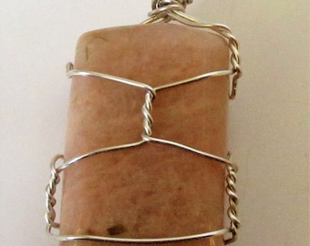 Silver Wire wrapped Moonstone Pendant