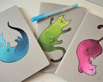 Three notebooks with cats, original handpainted, schoolmaterial