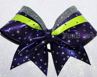 Lime Green and Purple   Swoop Rhinestone  Cheer Bow  by FunBows !